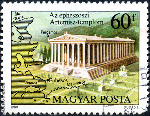 Plakat UKRAINE - CIRCA 2017: A postage stamp printed in Hungary shows Temple of Artemis