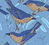 Seamless Pattern Bird Branch Color Blue