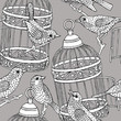 Seamless Pattern Birdcage with Birds Black & White - 165571235
