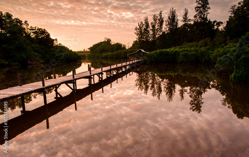 Foto op Plexiglas Zalm View of beautiful sunrise on a lake. image contain soft focus due to long expose.