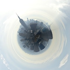 Manhattan skyline shown as tiny planet edition