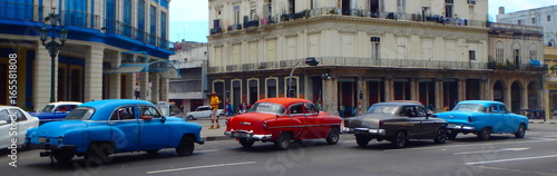 Tuinposter Havana Voitures cubaines, La Havane, Cuba