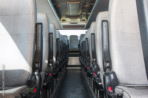 Fototapeta passenger compartment of a big shuttle bus