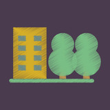 Flat Icon in Shading Style multi-storey building