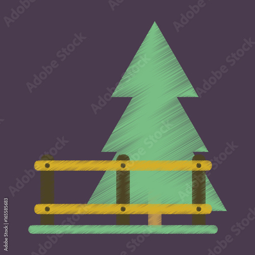 Tuinposter Aubergine Flat Icon in Shading Style Fenced spruce