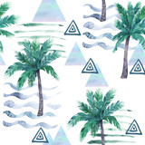 Watercolor seamless pattern. Palm tree, geometric elements and stripe lines. Abstract illustration