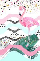 Abstract geometric poster with flamingo. Summer tropical design. Hand drawn illustration