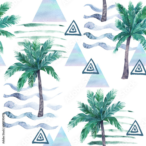 Watercolor seamless pattern. Palm tree, geometric elements and stripe lines. Abstract illustration - 165590478