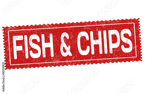 Fish and chips sign or stamp