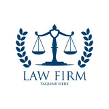 Scale of Justice with laurel Logo - 165591830