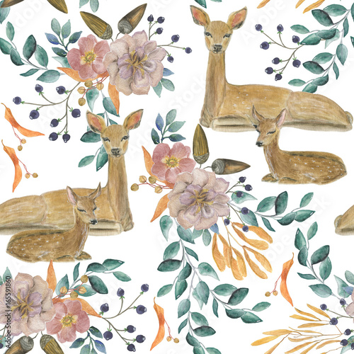Watercolor painting seamless pattern with deers - 165591860