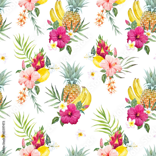 Watercolor tropical pattern - 165597473