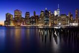 USA, Nowym Jorku, Nowym Jorku. Skyline Nowego Jorku Manhattan (Downtown) Zmierzch