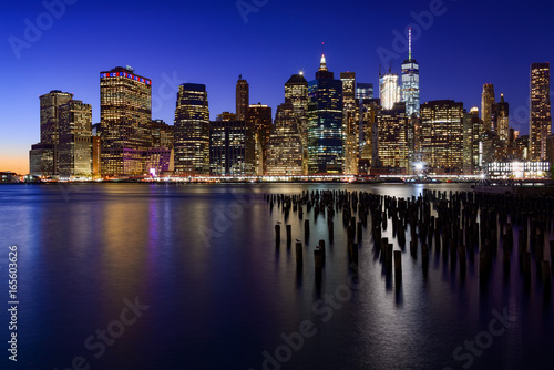 USA, New York, New York City. Skyline of New York Manhattan (Downtown) Twilight