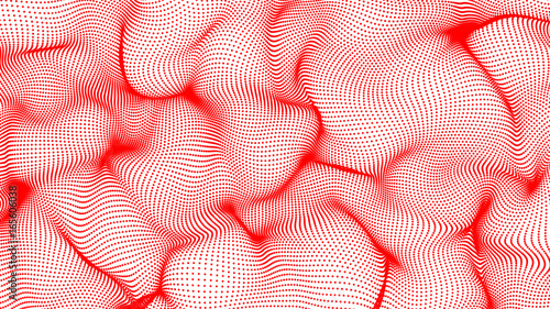 In de dag Abstract wave red abstract waves on white background - shape made of dots