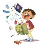 Niño en el colegio con material escolar
