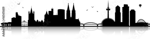 Köln Skyline Silhouette schwarz - 165611689