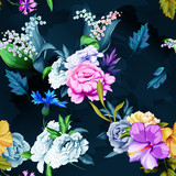 Seamless background pattern of roses, peony, chinese rose, cornflowers and lily of the valley with leaves on black. Watercolor, hand drawn. Vector - stock
