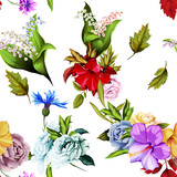 Seamless background pattern of roses, peony, chinese rose, cornflowers and lily of the valley with leaves on white. Watercolor, hand drawn. Vector - stock