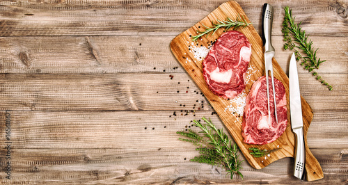 Raw meat Ribeye Steak herbs spices Rib eye