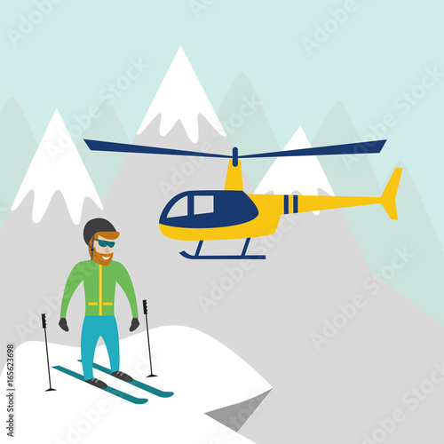 Heliskiing flat illustration with helicopter, mountains and skier.
