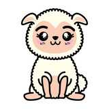 isolated cute standing sheep icon vector illustration graphic design - 165633852