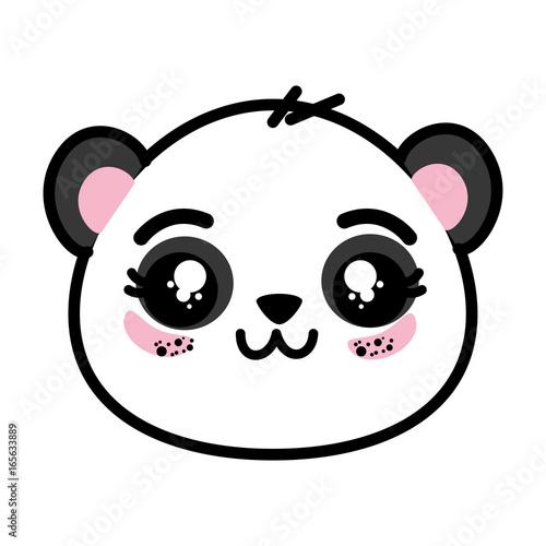 Fototapeta cute panda bear face icon vector illustration graphic design