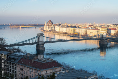 Budapest with Parliament, Chain Bridge and Margaret Island