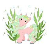Cute unicorn on a beautiful background. Vector illustration.