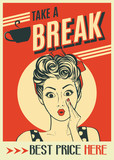 advertising coffee retro poster with pop art woman - 165650040