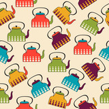 funny seamless pattern with kettles