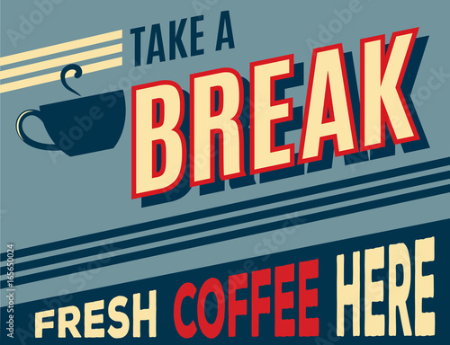 Wall mural advertising coffee retro poster