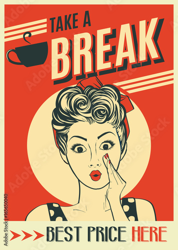 Aluminium Vintage Poster advertising coffee retro poster with pop art woman
