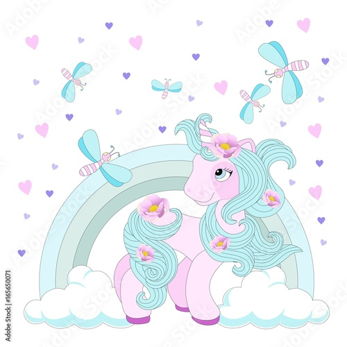 Cute unicorn on a beautiful background. Vector illustration. - 165650071