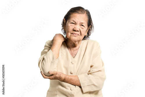 portrait of a senior woman having an elbow pain Poster