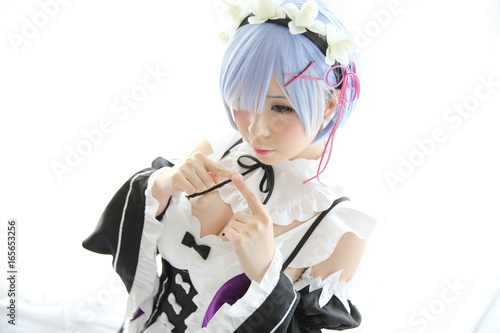 Japan anime cosplay girl in white tone - 165653256