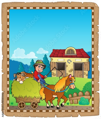 Tuinposter Voor kinderen Parchment with farmer riding cart
