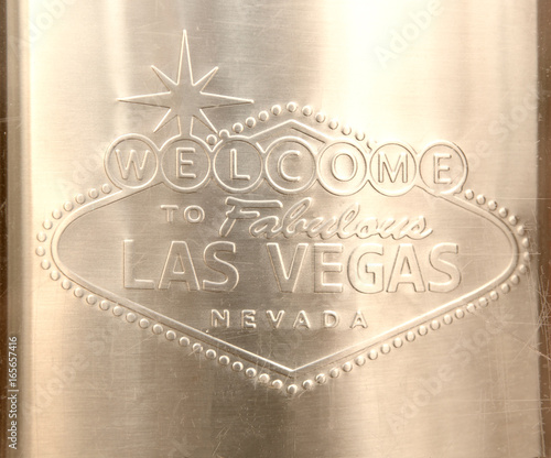 Fotobehang Las Vegas Las Vegas Sign engraved on stainless steel