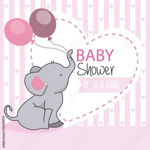 Fototapeta baby shower girl. Elephant with balloons