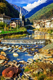 Picturesque Alpine village Lillianes in Valle d'Aosta, North Italy - 165662800