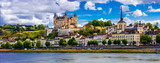 Landmarks of France-panorama of Samumur town with royal castle. Loire valley - 165663800