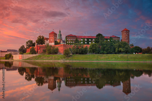 Krakow. Image of old town Krakow, Poland during summer sunset.