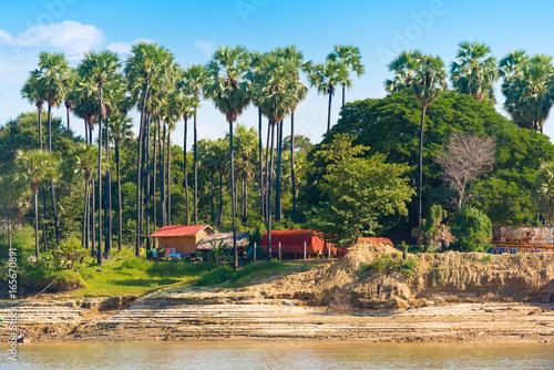 The village on the Irrawaddy river Irrawaddy, Mandalay, Myanmar, Burma Poster