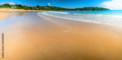 Foto op Plexiglas Tropical strand Panorama of sand beach and blue sea