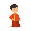 Boy wearing red national costume of China colorful character vector Illustration - 165690874