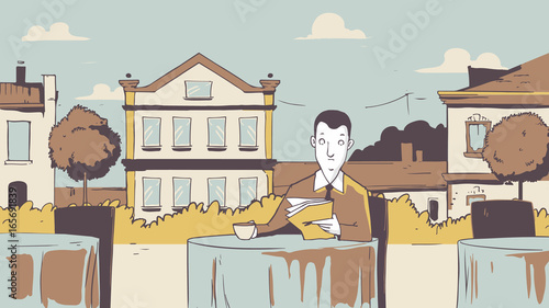 Man at a cafe restaurant outdoor. Vector handmade illustration painting art style. Arhitecture Background italian concept cartoon - 165691839
