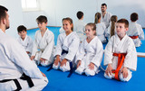 Young children in karate class