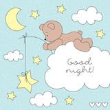 cute teddy bear on the cloud vector illustration
