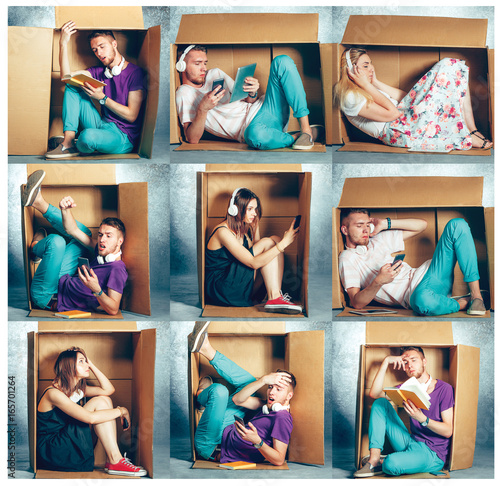 Introvert concept. Collage of man and women sitting inside box Poster