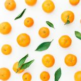 Mandarin. White Background. Flat lay, top view